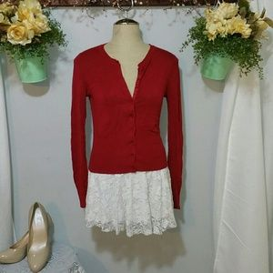 Express Design Studio Little Red Cardigan size XS